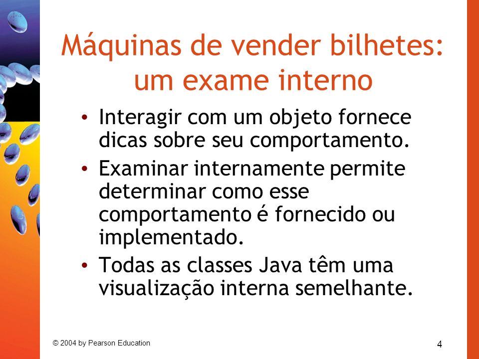 5 © 2004 by Pearson Education Estrutura de uma classe básica public class TicketMachine { Parte interna da classe omitida.
