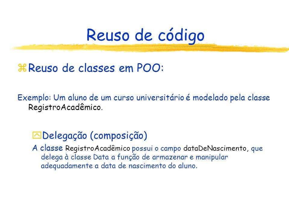 Reuso de código zReuso de classes em POO: Exemplo: Um aluno de um curso universitário é modelado pela classe RegistroAcadêmico.