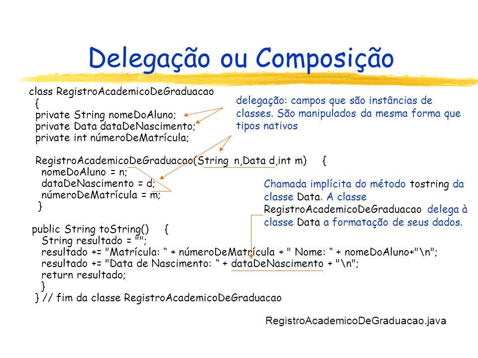 Delegação ou Composição class RegistroAcademicoDeGraduacao { private String nomeDoAluno; private Data dataDeNascimento; private int númeroDeMatrícula; RegistroAcademicoDeGraduacao(String n,Data d,int m) { nomeDoAluno = n; dataDeNascimento = d; númeroDeMatrícula = m; } public String toString() { String resultado = ; resultado += Matrícula: + númeroDeMatrícula + Nome: + nomeDoAluno+ \n ; resultado += Data de Nascimento: + dataDeNascimento + \n ; return resultado; } } // fim da classe RegistroAcademicoDeGraduacao RegistroAcademicoDeGraduacao.java delegação: campos que são instâncias de classes.