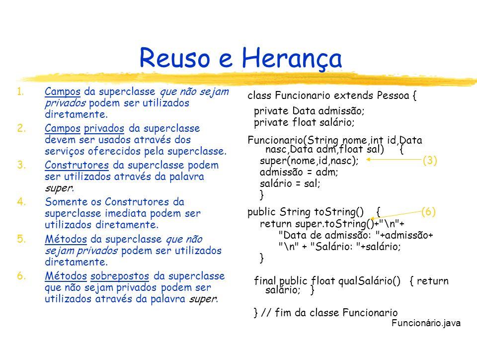 Reuso e Herança 1.Campos da superclasse que não sejam privados podem ser utilizados diretamente.