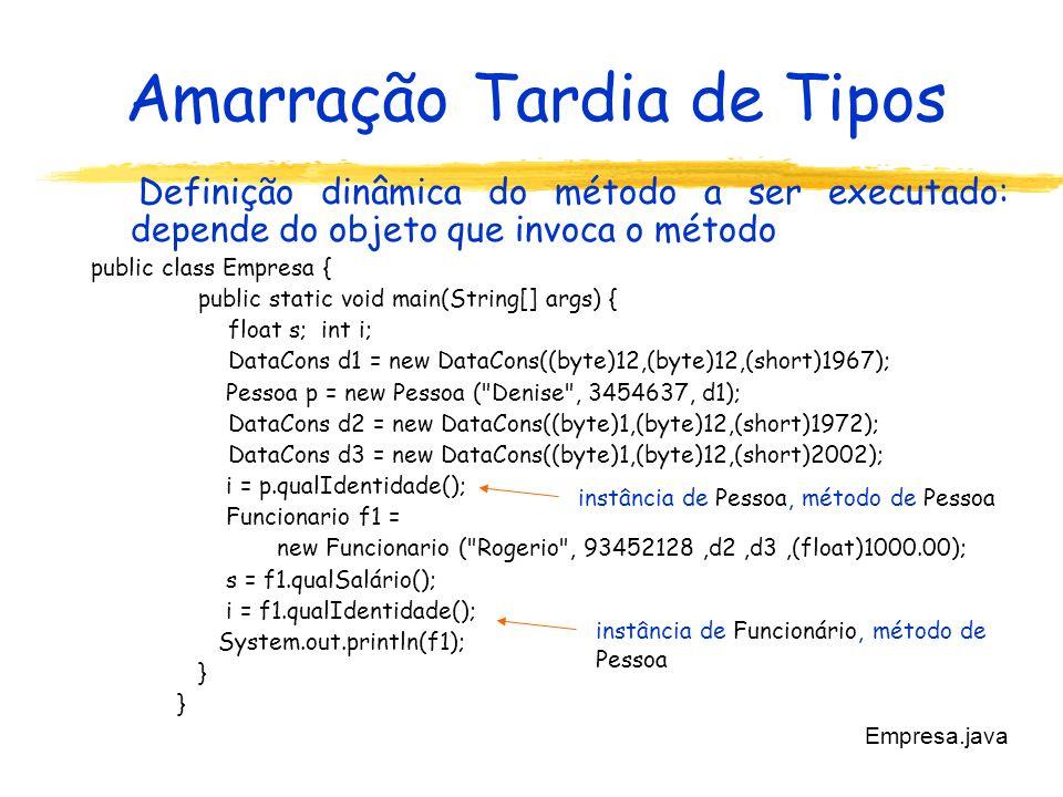 Amarração Tardia de Tipos Definição dinâmica do método a ser executado: depende do objeto que invoca o método public class Empresa { public static void main(String[] args) { float s; int i; DataCons d1 = new DataCons((byte)12,(byte)12,(short)1967); Pessoa p = new Pessoa ( Denise , 3454637, d1); DataCons d2 = new DataCons((byte)1,(byte)12,(short)1972); DataCons d3 = new DataCons((byte)1,(byte)12,(short)2002); i = p.qualIdentidade(); Funcionario f1 = new Funcionario ( Rogerio , 93452128,d2,d3,(float)1000.00); s = f1.qualSalário(); i = f1.qualIdentidade(); System.out.println(f1); } Empresa.java instância de Pessoa, método de Pessoa instância de Funcionário, método de Pessoa