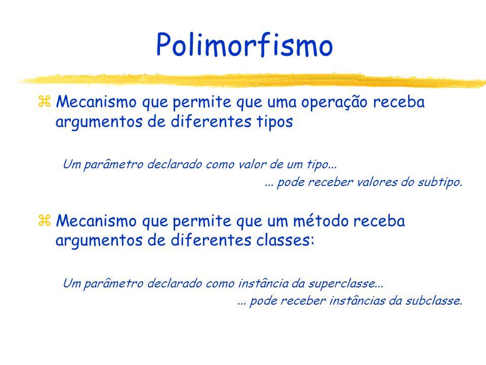 Polimorfismo z Mecanismo que permite que uma operação receba argumentos de diferentes tipos Um parâmetro declarado como valor de um tipo......