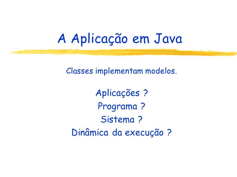 A Aplicação em Java Classes implementam modelos. Aplicações .