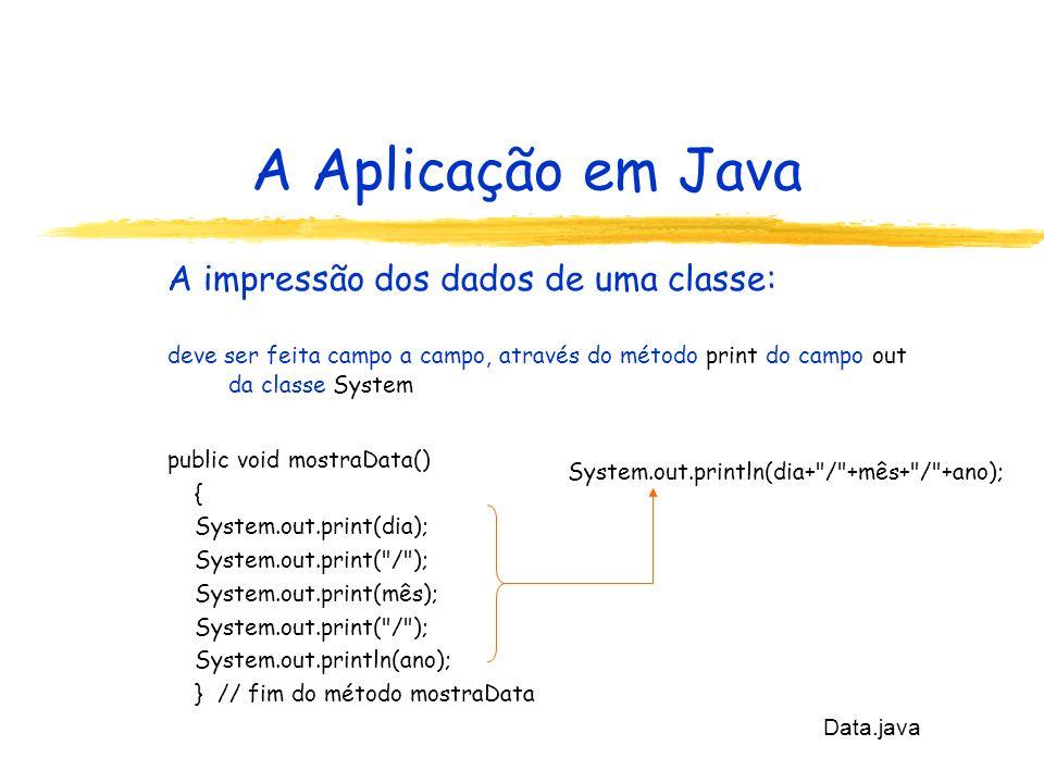 A Aplicação em Java A impressão dos dados de uma classe: deve ser feita campo a campo, através do método print do campo out da classe System public void mostraData() { System.out.print(dia); System.out.print( / ); System.out.print(mês); System.out.print( / ); System.out.println(ano); } // fim do método mostraData Data.java System.out.println(dia+ / +mês+ / +ano);