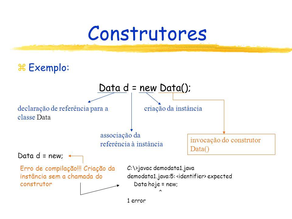 Construtores zExemplo: Data d = new Data(); Data d = new; declaração de referência para a classe Data associação da referência à instância invocação do construtor Data() criação da instância C:\>javac demodata1.java demodata1.java:5: expected Data hoje = new; ^ 1 error Erro de compilação!!.