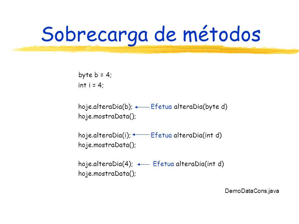 Sobrecarga de métodos DemoDataCons.java byte b = 4; int i = 4; hoje.alteraDia(b); Efetua alteraDia(byte d) hoje.mostraData(); hoje.alteraDia(i); Efetua alteraDia(int d) hoje.mostraData(); hoje.alteraDia(4); Efetua alteraDia(int d) hoje.mostraData();