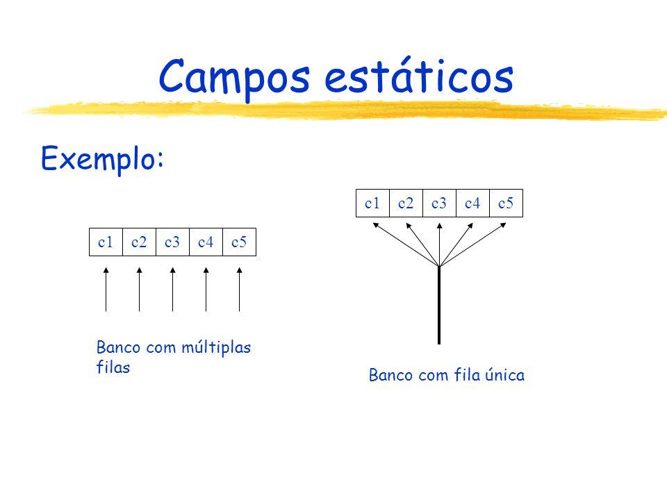 Campos estáticos Exemplo: c1c2c3c4c5 c1c2c3c4c5 Banco com múltiplas filas Banco com fila única