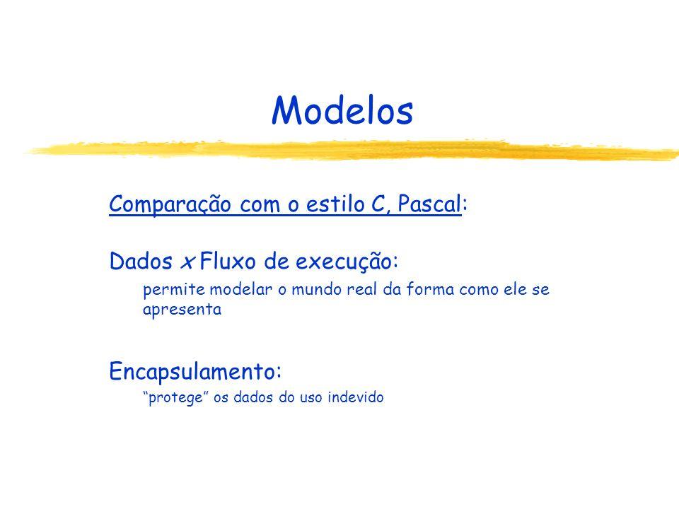 Modelos Comparação com o estilo C, Pascal: Dados x Fluxo de execução: permite modelar o mundo real da forma como ele se apresenta Encapsulamento: protege os dados do uso indevido