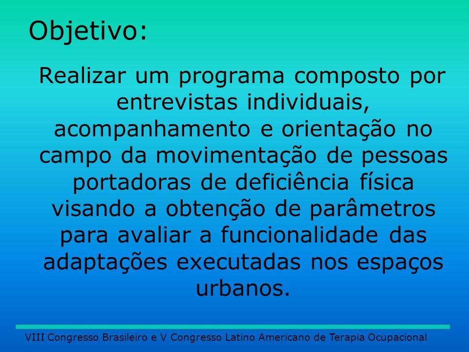 Objetivo: Realizar um programa composto por entrevistas individuais, acompanhamento e orientação no campo da movimentação de pessoas portadoras de def