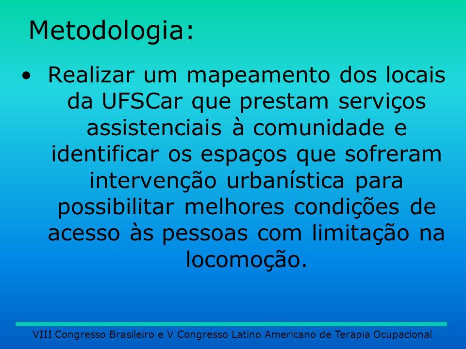 Metodologia: Realizar um mapeamento dos locais da UFSCar que prestam serviços assistenciais à comunidade e identificar os espaços que sofreram interve