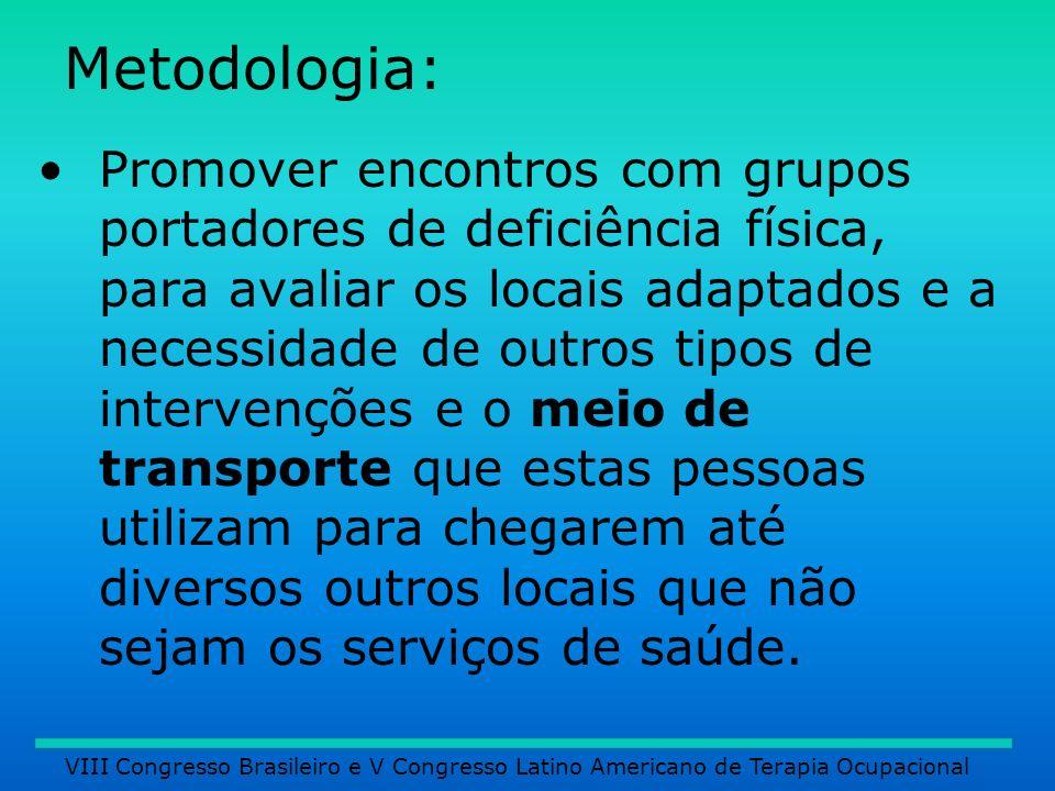 Metodologia: Promover encontros com grupos portadores de deficiência física, para avaliar os locais adaptados e a necessidade de outros tipos de inter