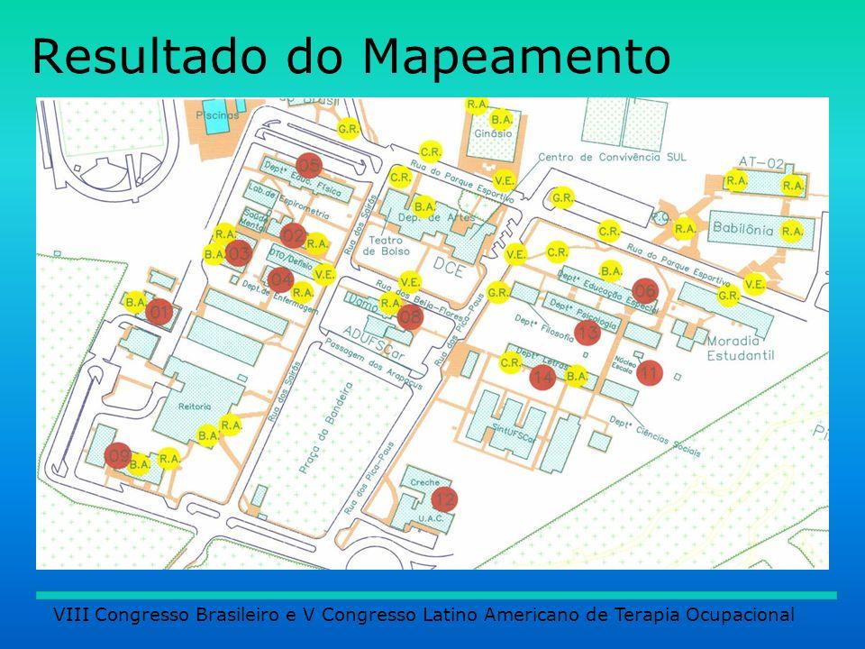 Resultados: Quanto aos transportes: VIII Congresso Brasileiro e V Congresso Latino Americano de Terapia Ocupacional Transporte especial sem Adaptações.