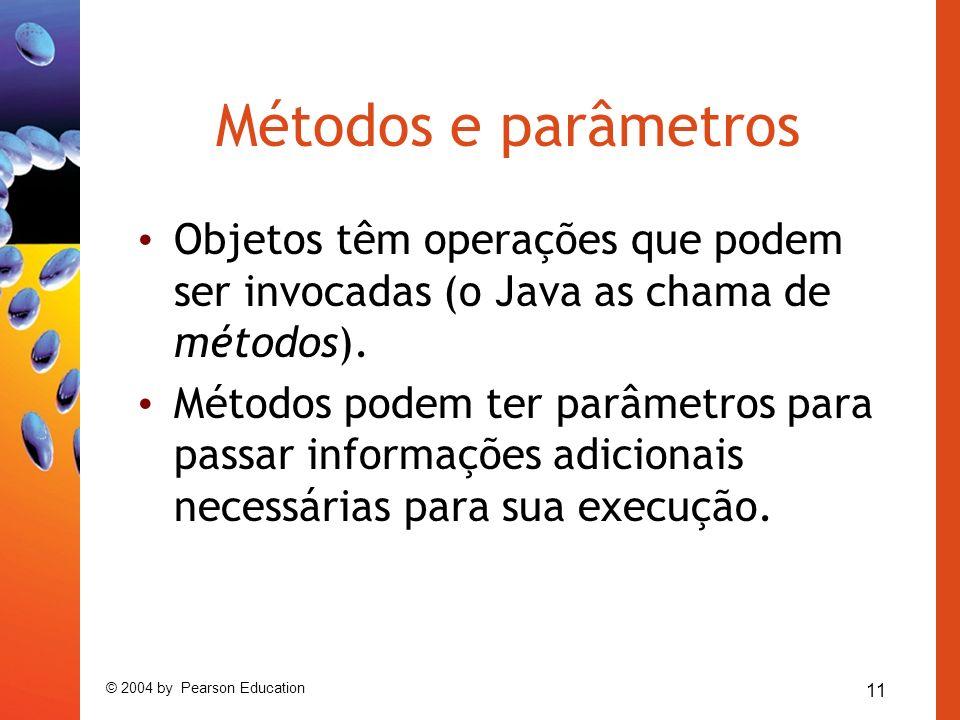 11 © 2004 by Pearson Education Métodos e parâmetros Objetos têm operações que podem ser invocadas (o Java as chama de métodos).