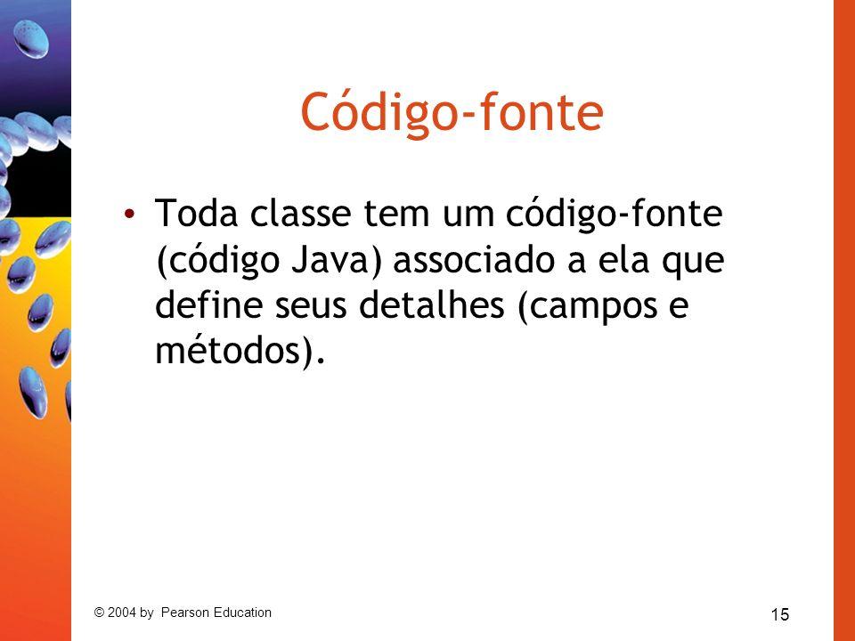 15 © 2004 by Pearson Education Código-fonte Toda classe tem um código-fonte (código Java) associado a ela que define seus detalhes (campos e métodos).