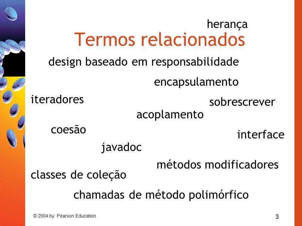 3 © 2004 by Pearson Education Termos relacionados interface javadoc encapsulamento acoplamento coesão chamadas de método polimórfico herança métodos modificadores classes de coleção sobrescrever iteradores design baseado em responsabilidade