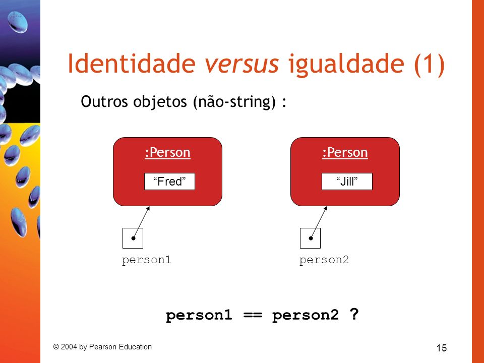 15 © 2004 by Pearson Education Identidade versus igualdade (1) Outros objetos (não-string) : person1 == person2 ? Fred :Person person1person2 Jill :Pe
