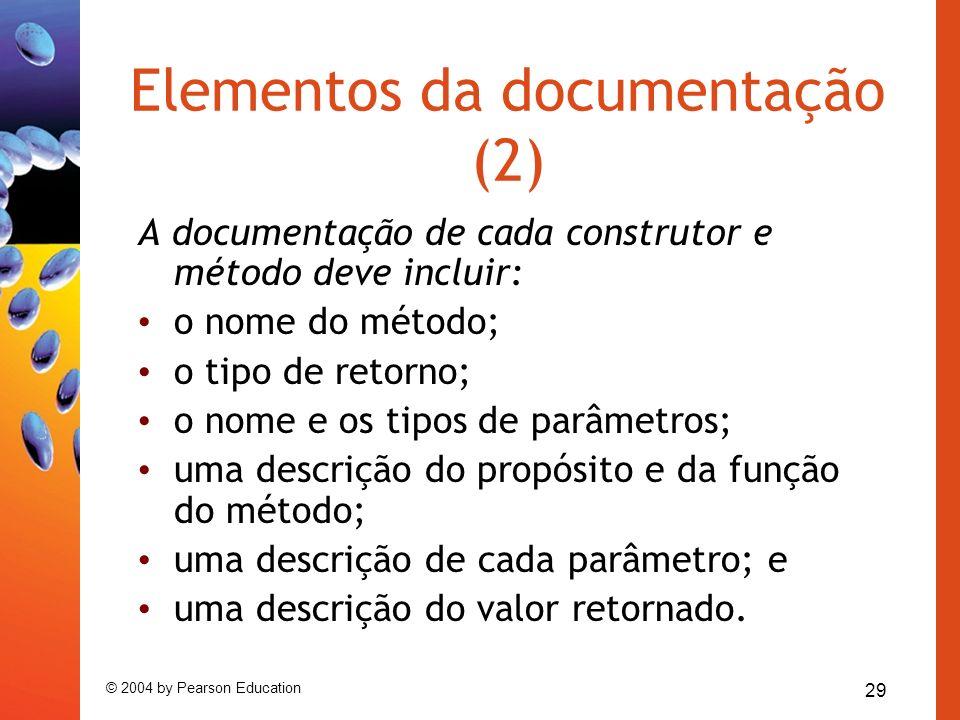 29 © 2004 by Pearson Education Elementos da documentação (2) A documentação de cada construtor e método deve incluir: o nome do método; o tipo de reto