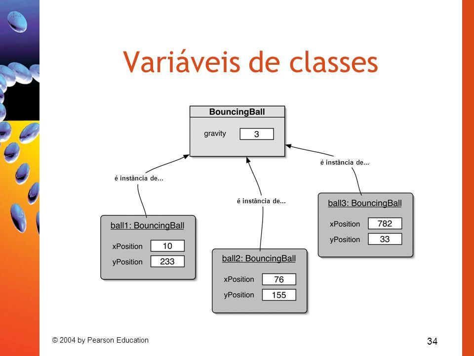 34 © 2004 by Pearson Education Variáveis de classes é instância de...
