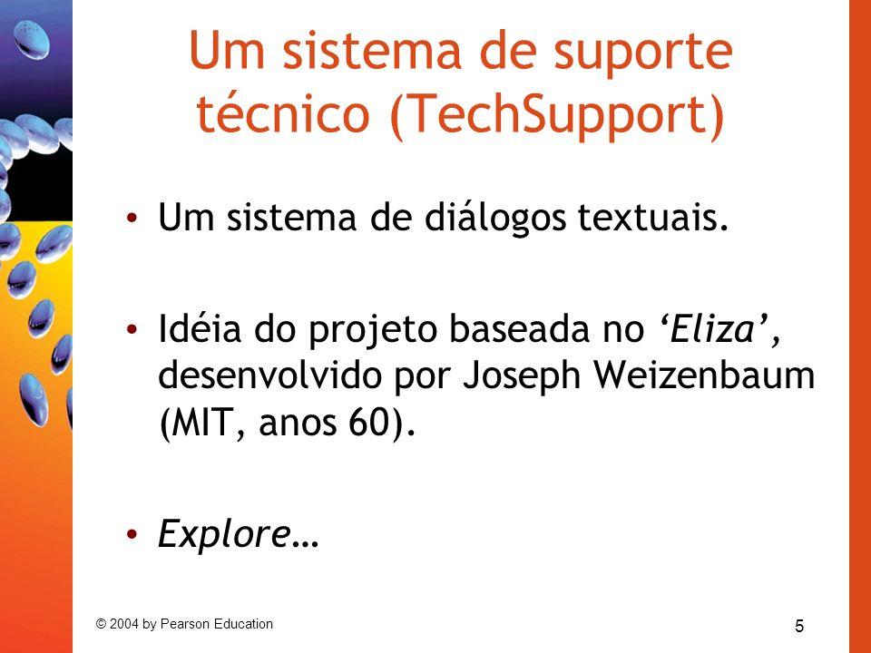 5 © 2004 by Pearson Education Um sistema de suporte técnico (TechSupport) Um sistema de diálogos textuais. Idéia do projeto baseada no Eliza, desenvol