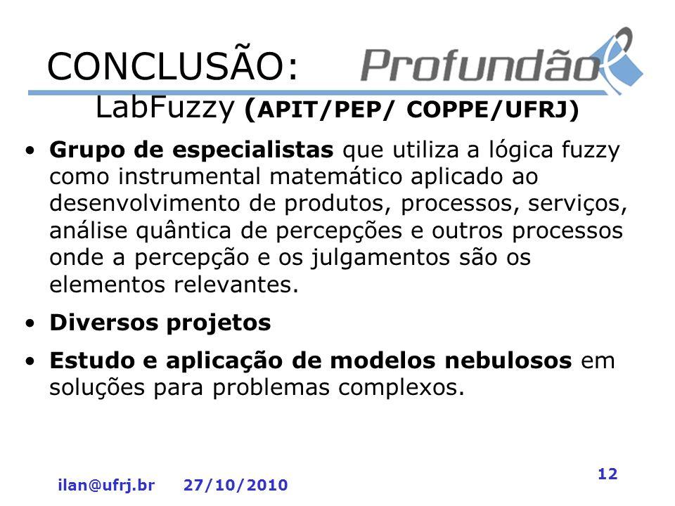 ilan@ufrj.br 27/10/2010 12 CONCLUSÃO: LabFuzzy ( APIT/PEP/ COPPE/UFRJ) Grupo de especialistas que utiliza a lógica fuzzy como instrumental matemático
