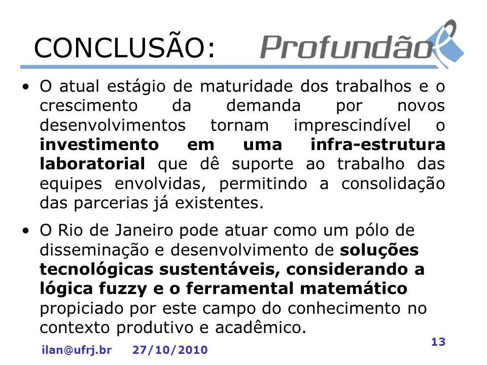 ilan@ufrj.br 27/10/2010 13 CONCLUSÃO: O atual estágio de maturidade dos trabalhos e o crescimento da demanda por novos desenvolvimentos tornam impresc