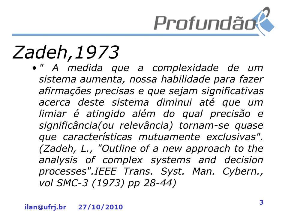 ilan@ufrj.br 27/10/2010 14 Lógica Fuzzy: Alternativa viável para projetos complexos no Rio de Janeiro –Referências AGUIAR, H.; OLIVEIRA, JR., 2007.