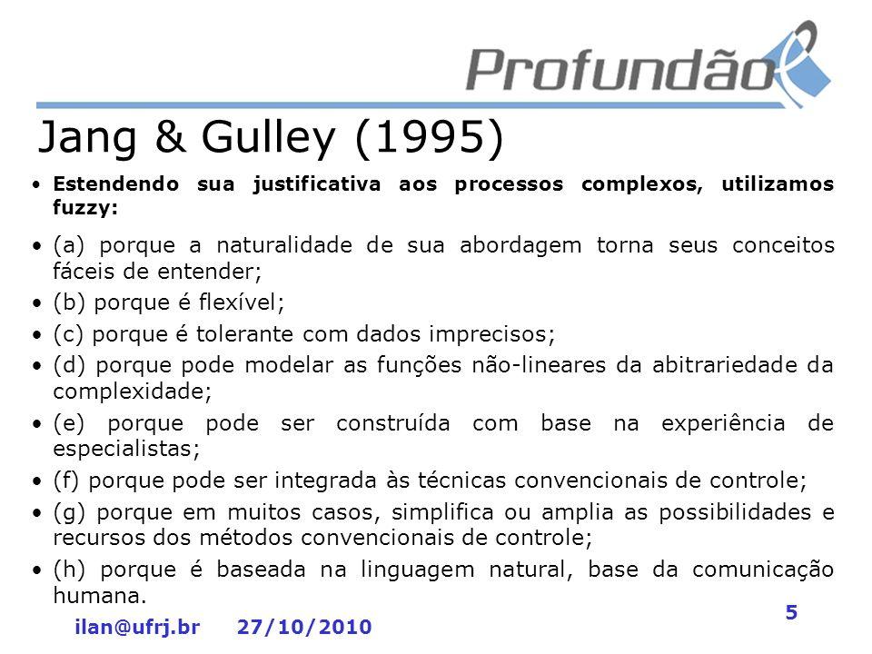 ilan@ufrj.br 27/10/2010 5 Jang & Gulley (1995) Estendendo sua justificativa aos processos complexos, utilizamos fuzzy: (a) porque a naturalidade de su
