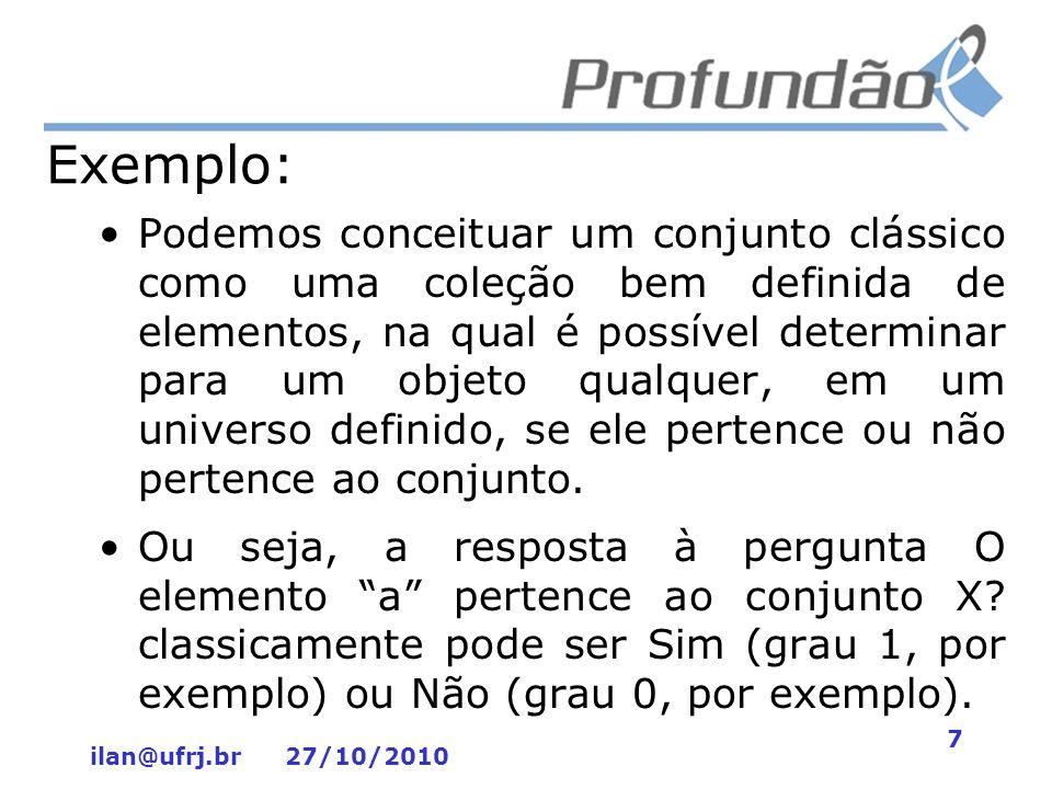 ilan@ufrj.br 27/10/2010 7 Exemplo: Podemos conceituar um conjunto clássico como uma coleção bem definida de elementos, na qual é possível determinar p