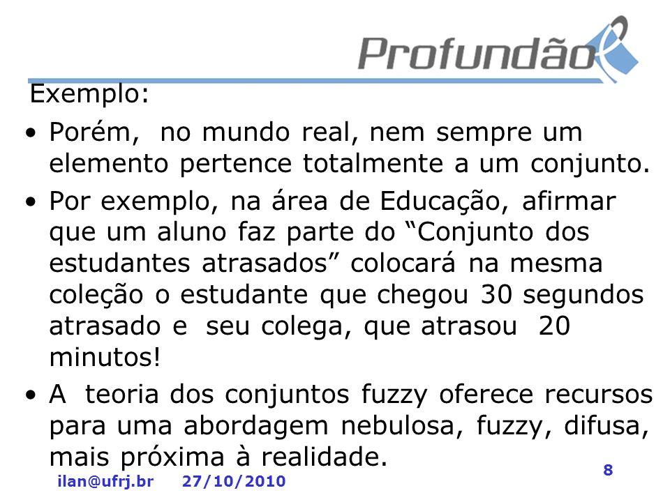 ilan@ufrj.br 27/10/2010 9 Estudos sobre Lógica Fuzzy na UFRJ Ao se pesquisar a palavra fuzzy no acervo digital com teses e dissertações da UFRJ dos últimos 10 anos, são obtidos títulos de mais de cem pesquisas que utilizaram a lógica fuzzy.