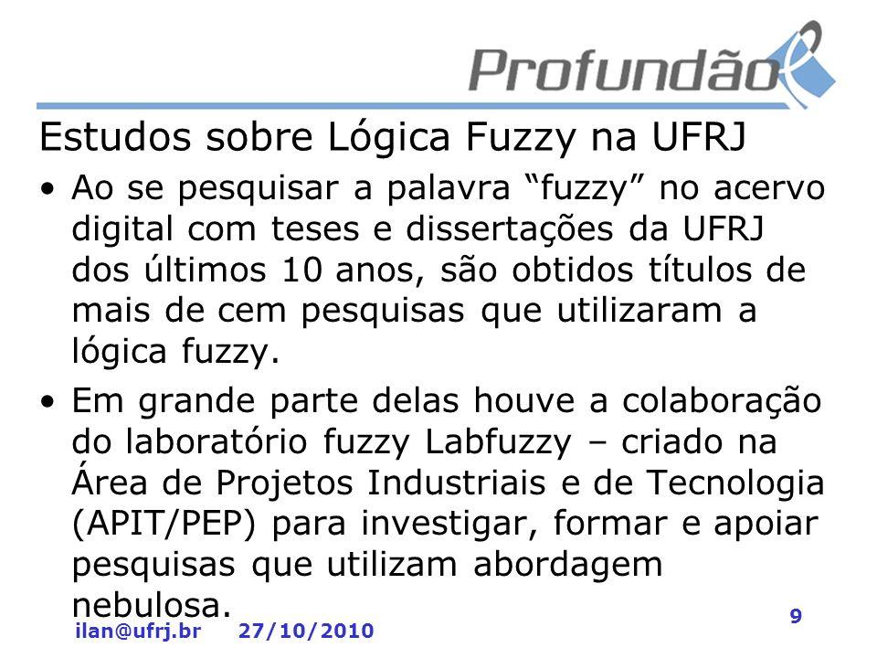 ilan@ufrj.br 27/10/2010 9 Estudos sobre Lógica Fuzzy na UFRJ Ao se pesquisar a palavra fuzzy no acervo digital com teses e dissertações da UFRJ dos úl