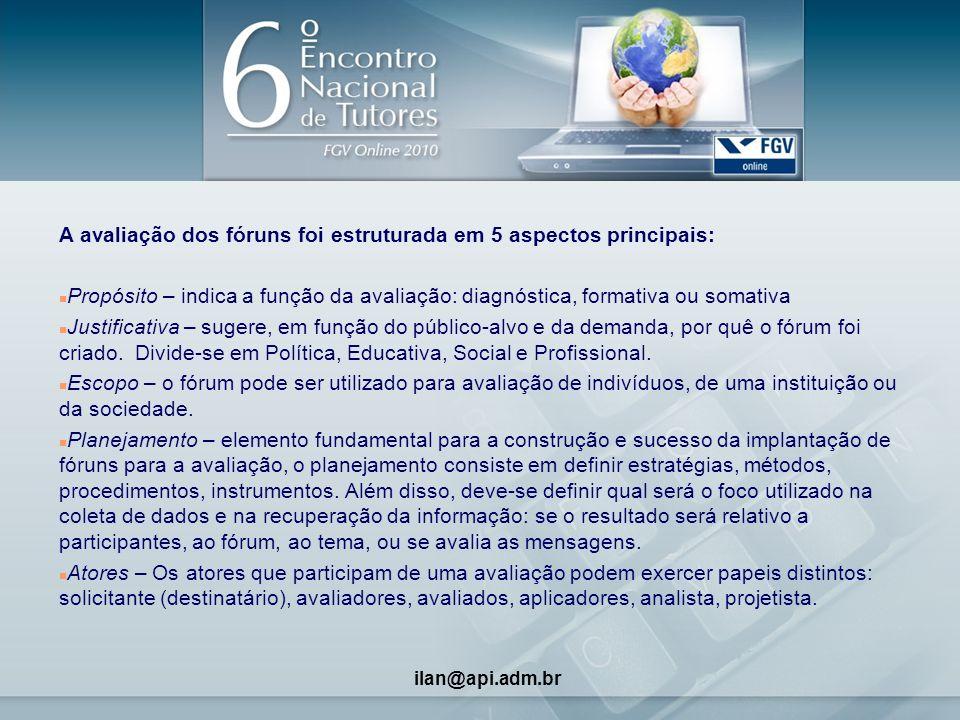 4 A avaliação dos fóruns foi estruturada em 5 aspectos principais: n Propósito – indica a função da avaliação: diagnóstica, formativa ou somativa n Ju