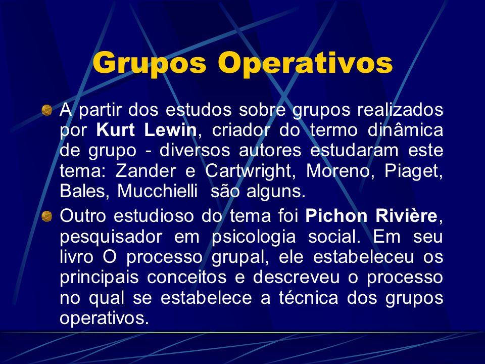 Grupos Operativos A partir dos estudos sobre grupos realizados por Kurt Lewin, criador do termo dinâmica de grupo - diversos autores estudaram este tema: Zander e Cartwright, Moreno, Piaget, Bales, Mucchielli são alguns.