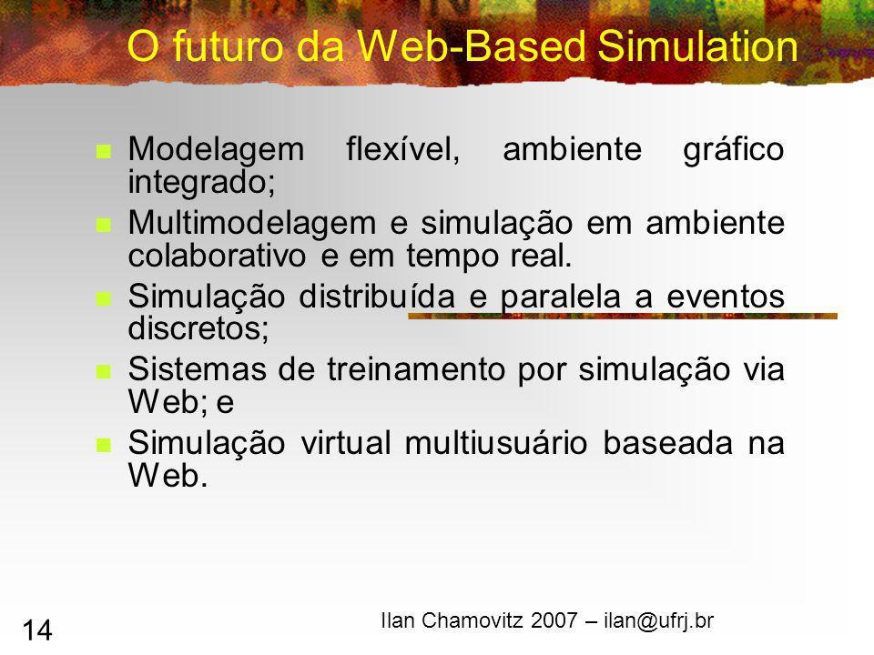 14 O futuro da Web-Based Simulation Modelagem flexível, ambiente gráfico integrado; Multimodelagem e simulação em ambiente colaborativo e em tempo real.