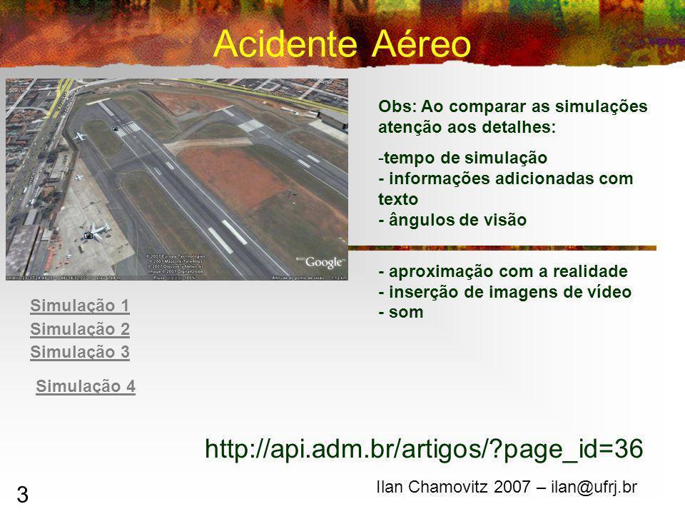 3 Acidente Aéreo Ilan Chamovitz 2007 – ilan@ufrj.br Obs: Ao comparar as simulações atenção aos detalhes: -tempo de simulação - informações adicionadas com texto - ângulos de visão - aproximação com a realidade - inserção de imagens de vídeo - som http://api.adm.br/artigos/?page_id=36 Simulação 2 Simulação 1 Simulação 3 Simulação 4