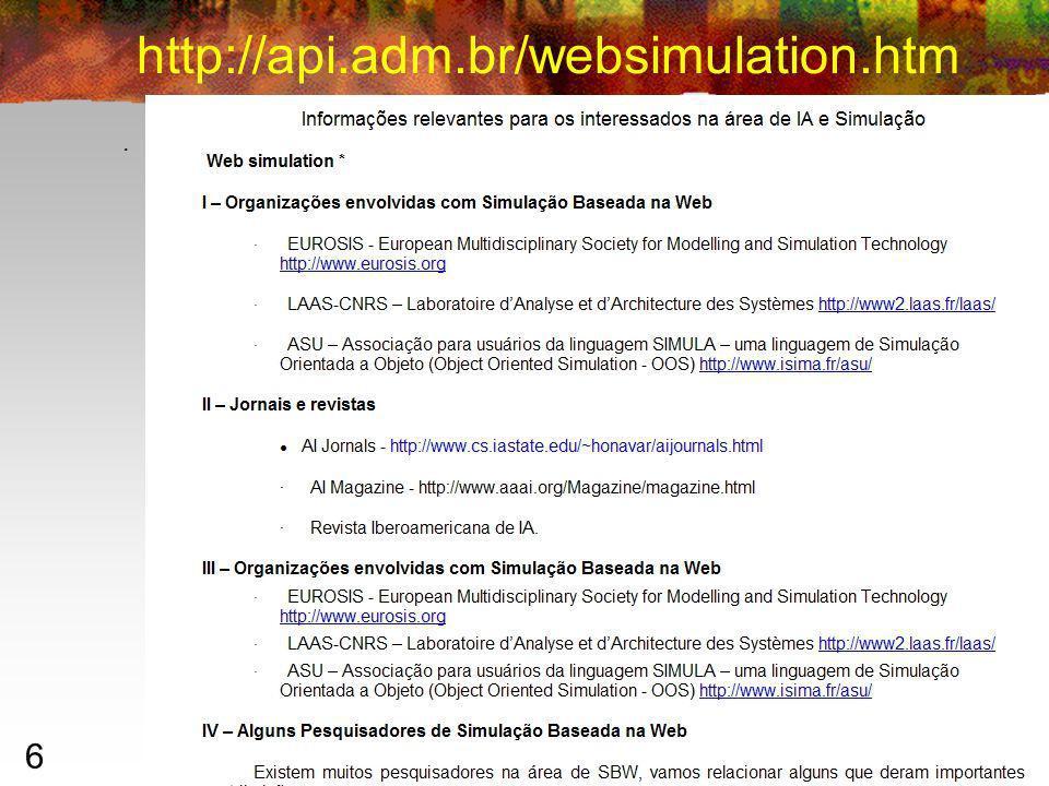 6 http://api.adm.br/websimulation.htm Ilan Chamovitz 2007 – ilan@ufrj.br.
