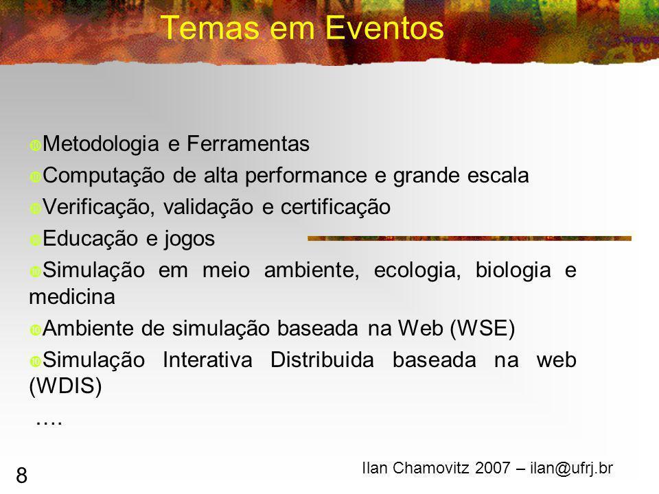 8 Temas em Eventos Ilan Chamovitz 2007 – ilan@ufrj.br Metodologia e Ferramentas Computação de alta performance e grande escala Verificação, validação e certificação Educação e jogos Simulação em meio ambiente, ecologia, biologia e medicina Ambiente de simulação baseada na Web (WSE) Simulação Interativa Distribuida baseada na web (WDIS) ….