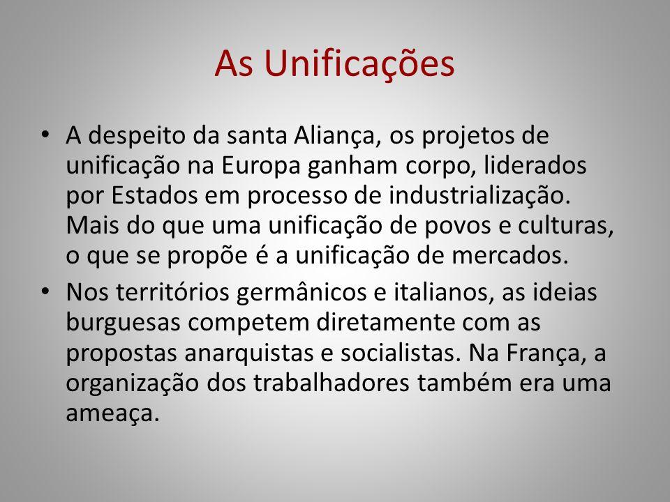 As Unificações A despeito da santa Aliança, os projetos de unificação na Europa ganham corpo, liderados por Estados em processo de industrialização. M