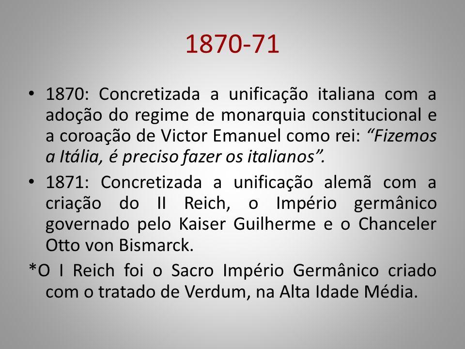 1870-71 1870: Concretizada a unificação italiana com a adoção do regime de monarquia constitucional e a coroação de Victor Emanuel como rei: Fizemos a