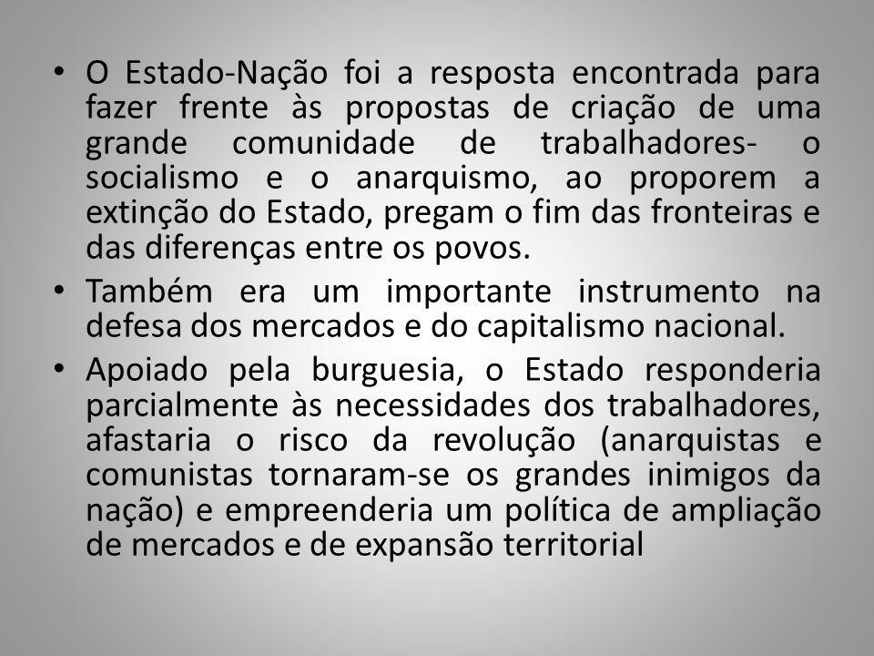 O Estado-Nação foi a resposta encontrada para fazer frente às propostas de criação de uma grande comunidade de trabalhadores- o socialismo e o anarqui