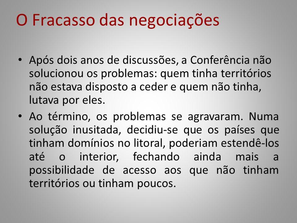 O Fracasso das negociações Após dois anos de discussões, a Conferência não solucionou os problemas: quem tinha territórios não estava disposto a ceder