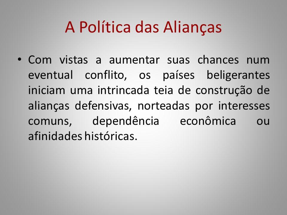 A Política das Alianças Com vistas a aumentar suas chances num eventual conflito, os países beligerantes iniciam uma intrincada teia de construção de