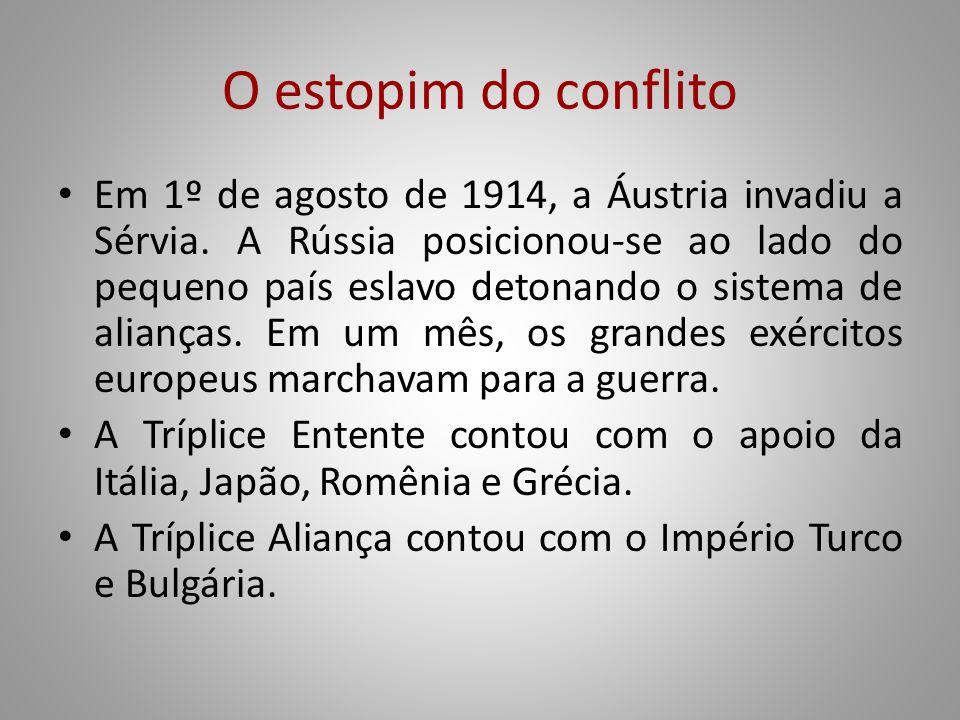 O estopim do conflito Em 1º de agosto de 1914, a Áustria invadiu a Sérvia. A Rússia posicionou-se ao lado do pequeno país eslavo detonando o sistema d