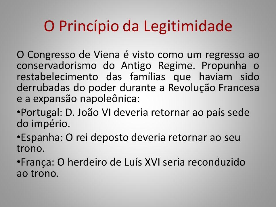 O Princípio da Legitimidade O Congresso de Viena é visto como um regresso ao conservadorismo do Antigo Regime. Propunha o restabelecimento das família