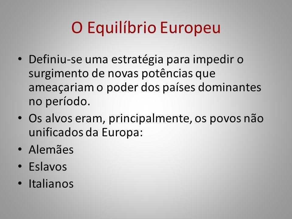 O Equilíbrio Europeu Definiu-se uma estratégia para impedir o surgimento de novas potências que ameaçariam o poder dos países dominantes no período. O