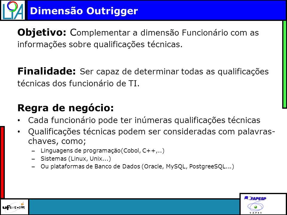 Clique para editar o título mestre Dimensão Outrigger Objetivo: C omplementar a dimensão Funcionário com as informações sobre qualificações técnicas.