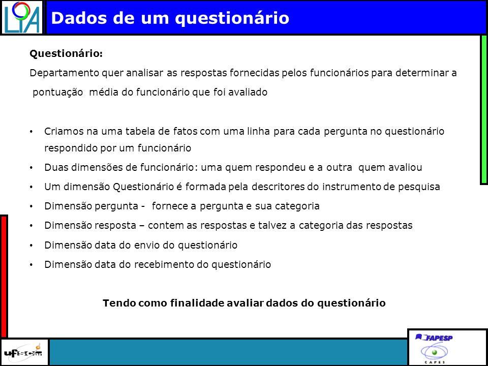 Clique para editar o título mestre Dados de um questionário Questionário: Departamento quer analisar as respostas fornecidas pelos funcionários para d