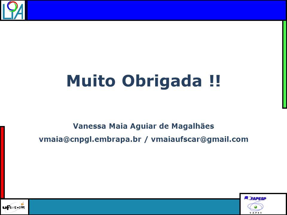 Clique para editar o título mestre Muito Obrigada !! Vanessa Maia Aguiar de Magalhães vmaia@cnpgl.embrapa.br / vmaiaufscar@gmail.com