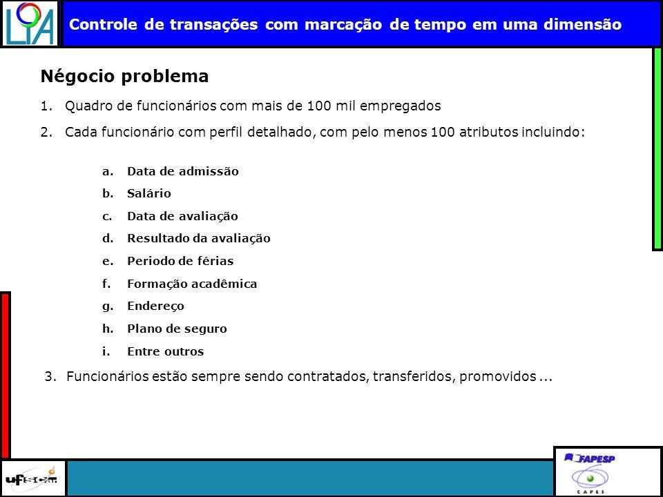 Clique para editar o título mestre Controle de transações com marcação de tempo em uma dimensão Négocio problema 1.Quadro de funcionários com mais de