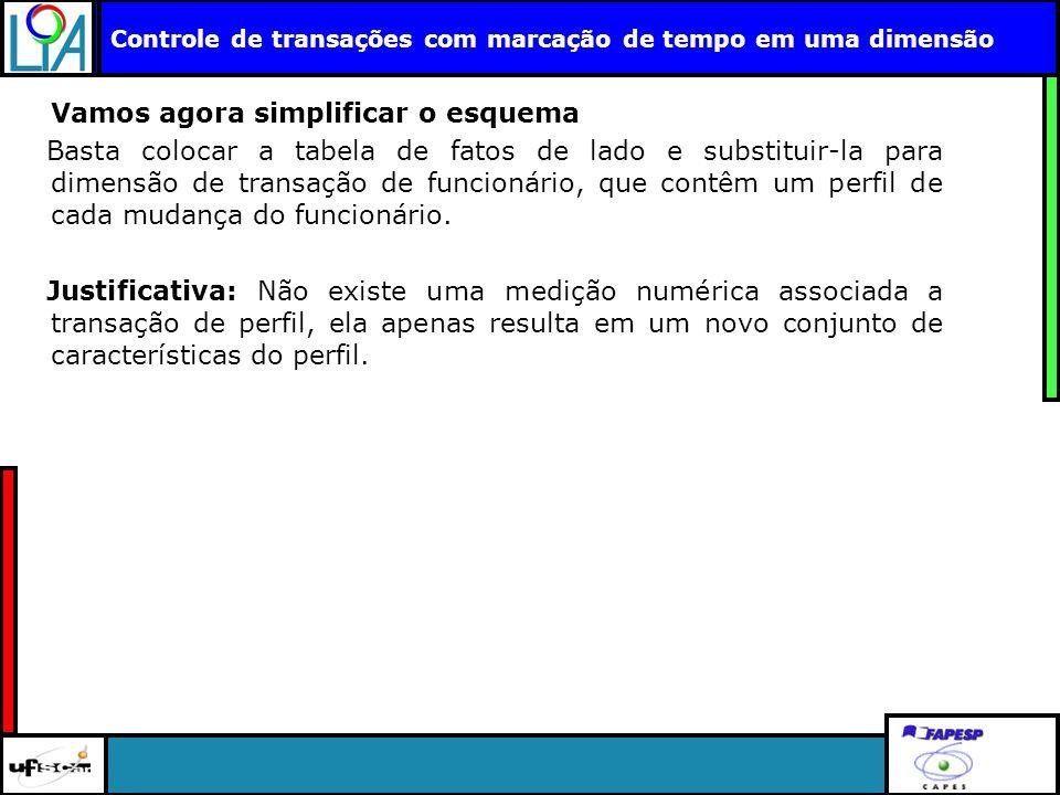 Clique para editar o título mestre Controle de transações com marcação de tempo em uma dimensão Vamos agora simplificar o esquema Basta colocar a tabe