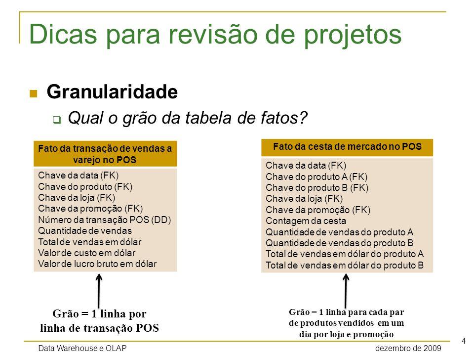 Data Warehouse e OLAP dezembro de 2009 5 Dicas para revisão de projetos Granularidade Qual o grão da tabela de fatos.
